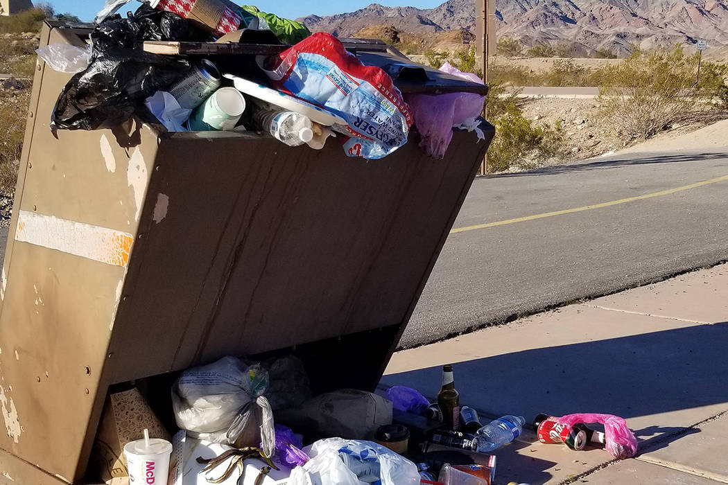 A trash can at the start of the Railroad Trail in Lake Mead National Recreation Area was overflowing with garbage during the partial government shutdown. (Celia Shortt Goodyear/Boulder City Review)