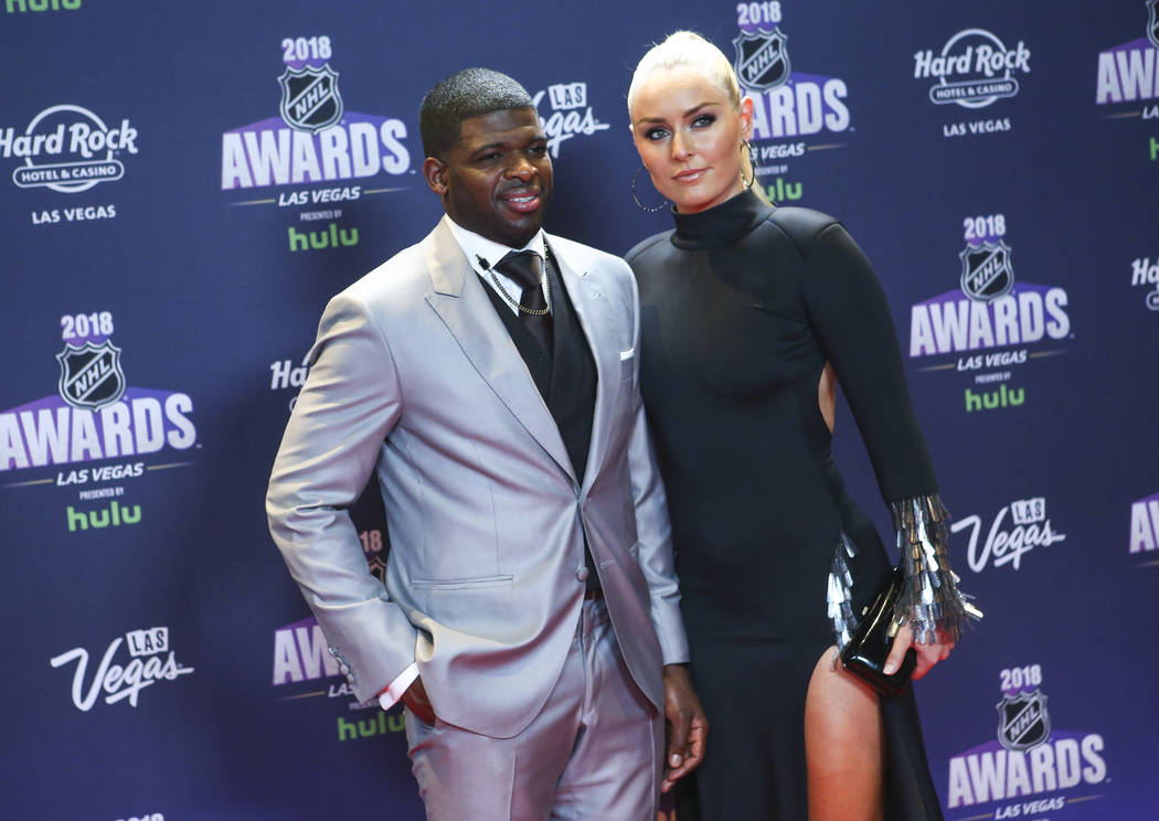 Lindsey Vonn, with P.K. Subban of the Nashville Predators, poses on the red carpet ahead of the NHL Awards at the Hard Rock Hotel in Las Vegas on Wednesday, June 20, 2018. Vonn says she is retirin ...