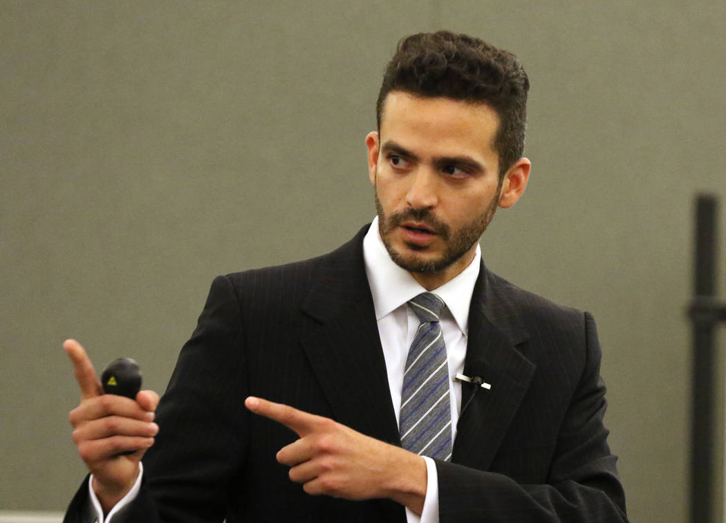 Christopher Sena's attorney David Lopez-Negrete presents the defense's opening statement at the Regional Justice Center in Las Vegas, Friday, Feb. 1, 2019. (Heidi Fang /Las Vegas Review-Journal) @ ...
