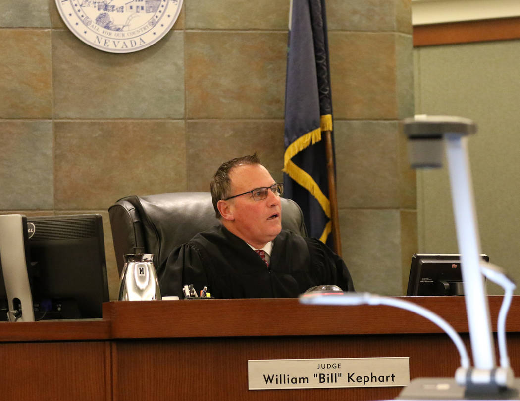 Judge William Kephart presides over the Christopher Sena trial at the Regional Justice Center in Las Vegas, Friday, Feb. 1, 2019. Sena is accused of sexually abusing at least seven children. (Heid ...