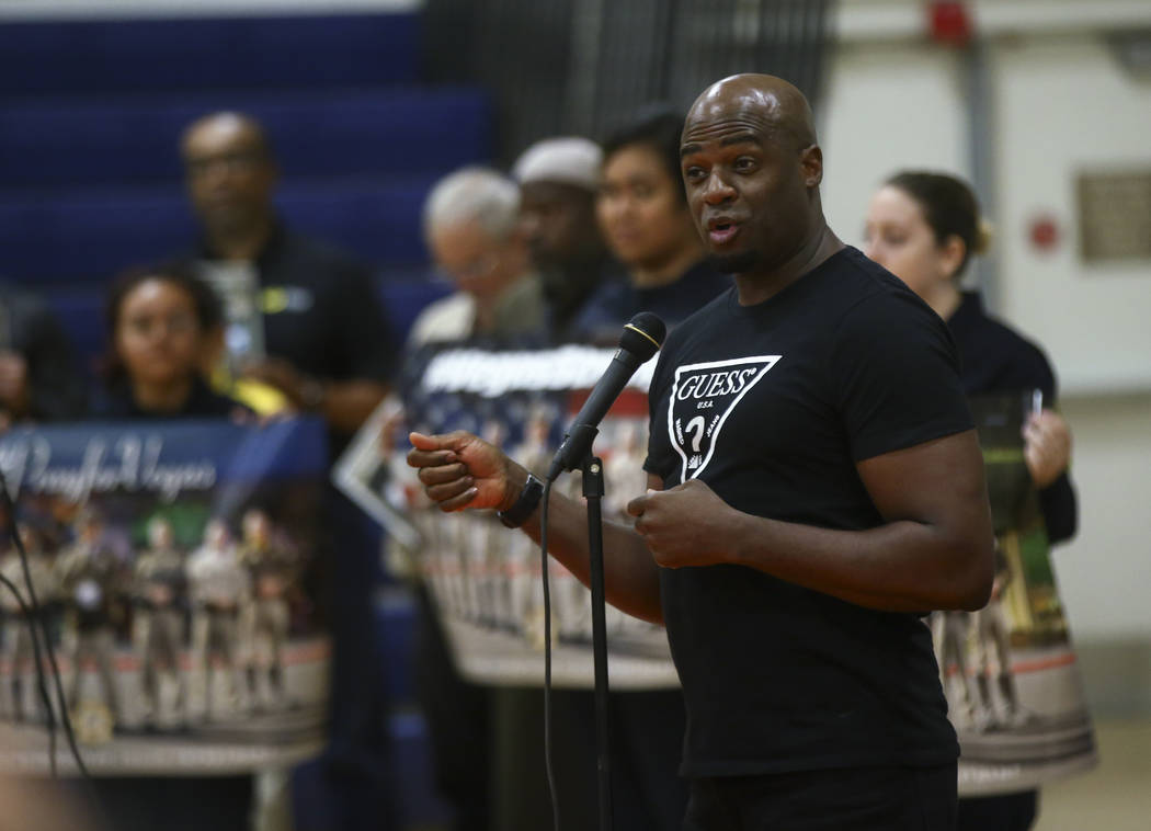 Sen. Kelvin Atkinson, D-North Las Vegas, speaks during a vigil held by Metropolitan Police Department's Bolden Area Command at Doolittle Community Center in Las Vegas on Tuesday, Oct. 3, 2017. A g ...