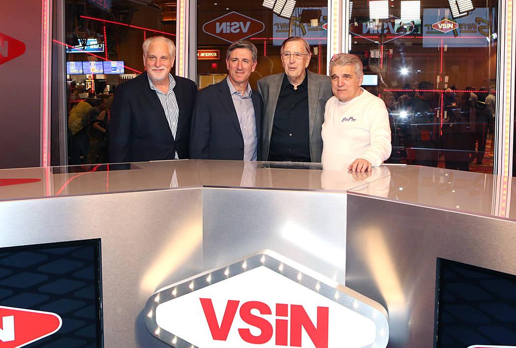 Al Bernstein, VSiN lead host, left, Vinny Magliulo, VSiN expert oddsmaker, second left, Brent Musburger, manager editor and lead host of VSiN, second right, and Jimmy Vaccaro, VSiN expert oddsmake ...