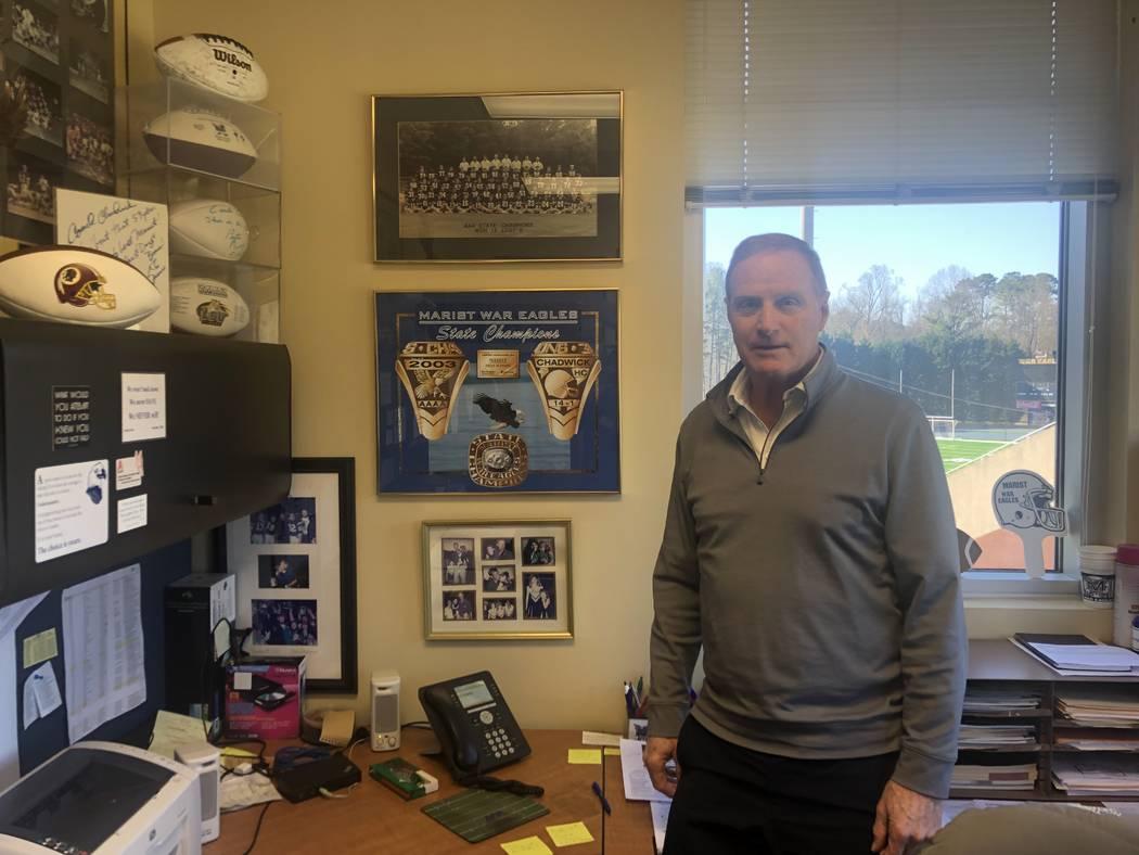 Marist School football coach Alan Chadwick, high school coach to Sean McVay. Photo by Ed Graney.