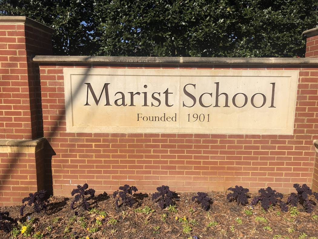 The sign in front of Marist School, where Los Angeles Rams coach Sean McVay played high school football. Photo by Ed Graney.