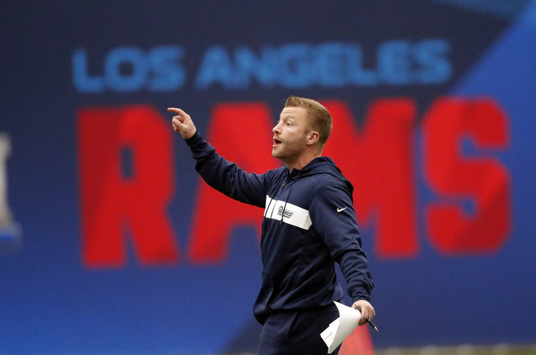 Los Angeles Rams head coach Sean McVay directs his players during a practice for the NFL Super Bowl 53 football game against the New England Patriots Wednesday, Jan. 30, 2019, in Flowery Branch, G ...
