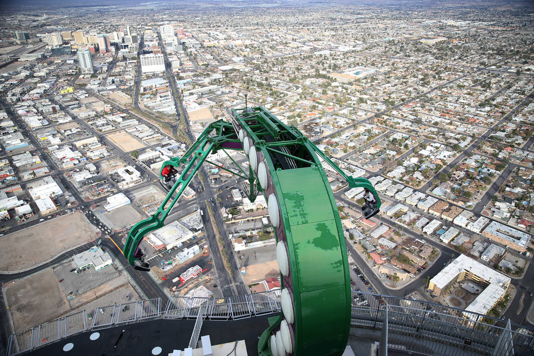People ride the Insanity at the Stratosphere in Las Vegas, Friday, Feb. 1, 2019. Erik Verduzco/Las Vegas Review-Journal) @Erik_Verduzco