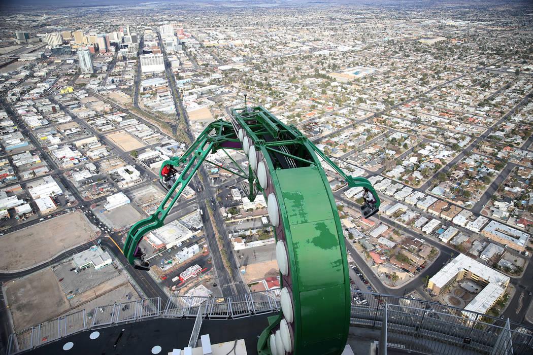 People ride the Insanity at the Stratosphere in Las Vegas, Friday, Feb. 1, 2019. Erik Verduzco/Las Vegas Review-Journal) @Erik_Verduzco