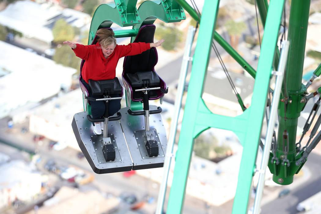Carolyn Wahamaa of Sudbury, Ontario, Canada, rides Insanity at the Stratosphere in Las Vegas, Friday, Feb. 1, 2019. Erik Verduzco/Las Vegas Review-Journal) @Erik_Verduzco