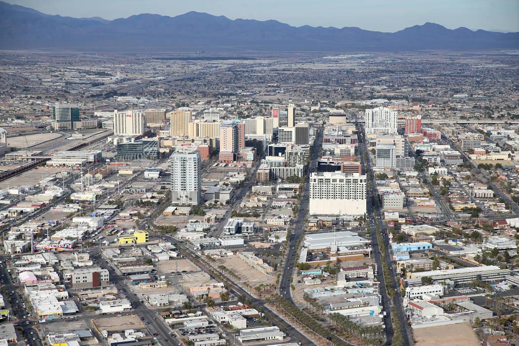 The view from the Stratosphere's observation deck in Las Vegas, Friday, Feb. 1, 2019. Erik Verduzco/Las Vegas Review-Journal) @Erik_Verduzco