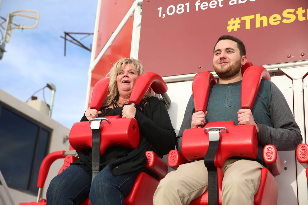 Michelle Shonkwiler, left, and her cousin Will Poynter, both of Indiana, ride Big Shot at the Stratosphere in Las Vegas, Friday, Feb. 1, 2019. Erik Verduzco/Las Vegas Review-Journal) @Erik_Verduzco