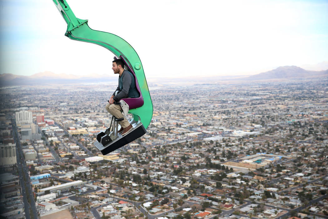 Will Poynter of Indiana rides Big Shot at the Stratosphere in Las Vegas, Friday, Feb. 1, 2019. Erik Verduzco/Las Vegas Review-Journal) @Erik_Verduzco