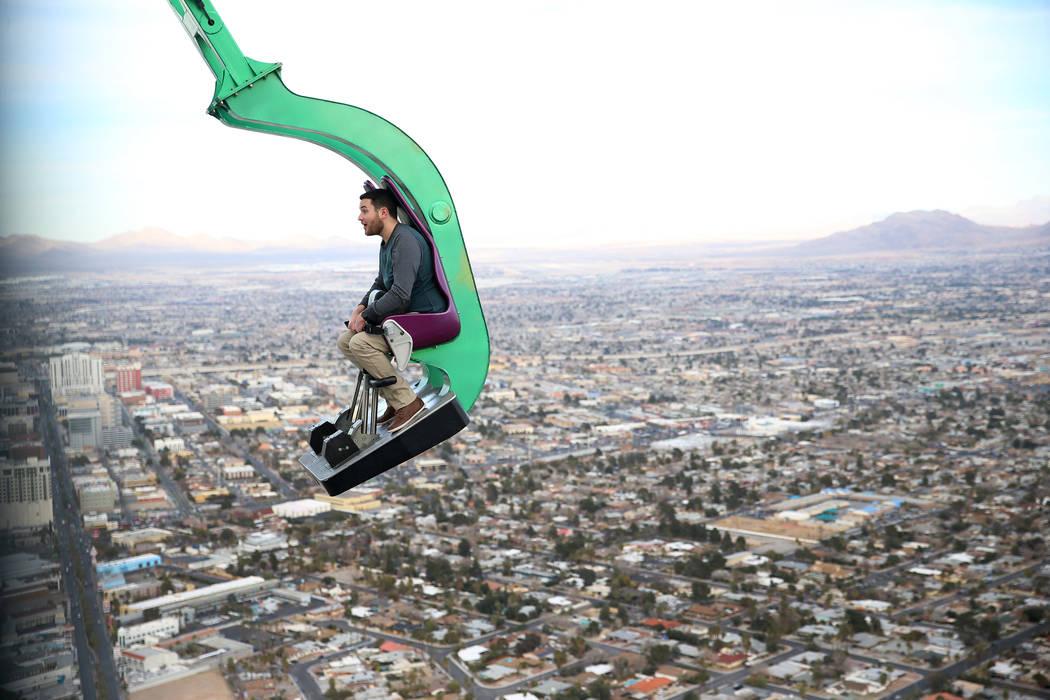 Will Poynter of Indiana rides Big Shot at the Stratosphere in Las Vegas, Friday, Feb. 1, 2019. Erik Verduzco/Las Vegas Review-Journal) @Erik_Verduzco