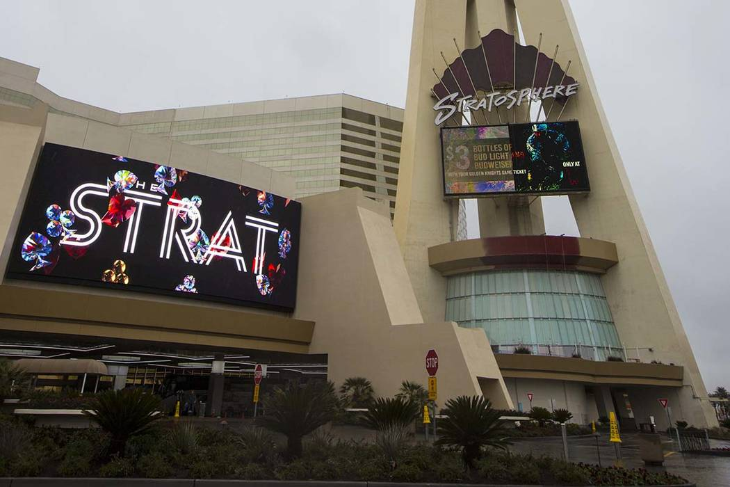 Golden Entertainment, owner of the Stratosphere, is rebranding the hotel-casino as The STRAT Hotel, Casino and Skypod. (Chase Stevens/Las Vegas Review-Journal) @csstevensphoto