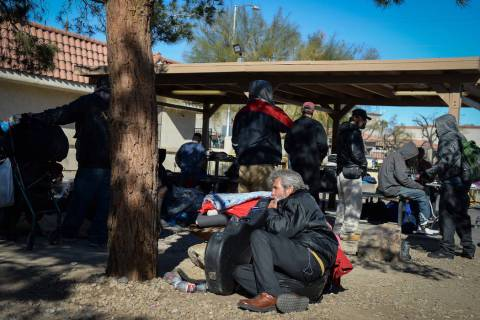 Clients relax at the city of Las Vegas' homeless courtyard in Las Vegas, Thursday, Jan. 24, 2019. Caroline Brehman/Las Vegas Review-Journal