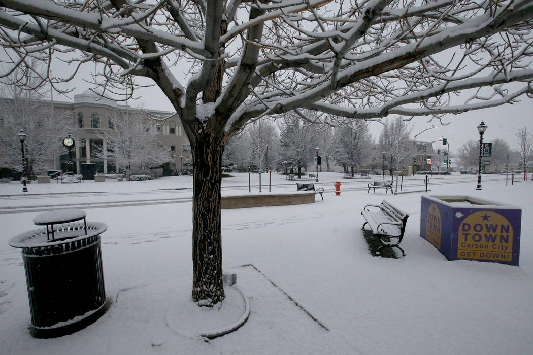Snow falls in front of the Legislative Building in Carson City Sunday, Feb. 3, 2019. The 80th session of the Nevada Legislature will begin on Monday. (K.M. Cannon/Las Vegas Review-Journal) @KMCann ...