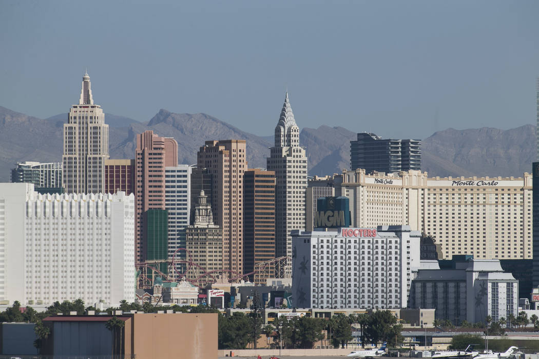 The Las Vegas Strip skyline as seen from McCarran in Las Vegas on Thursday, June 1, 2017. Richard Brian Las Vegas Review-Journal