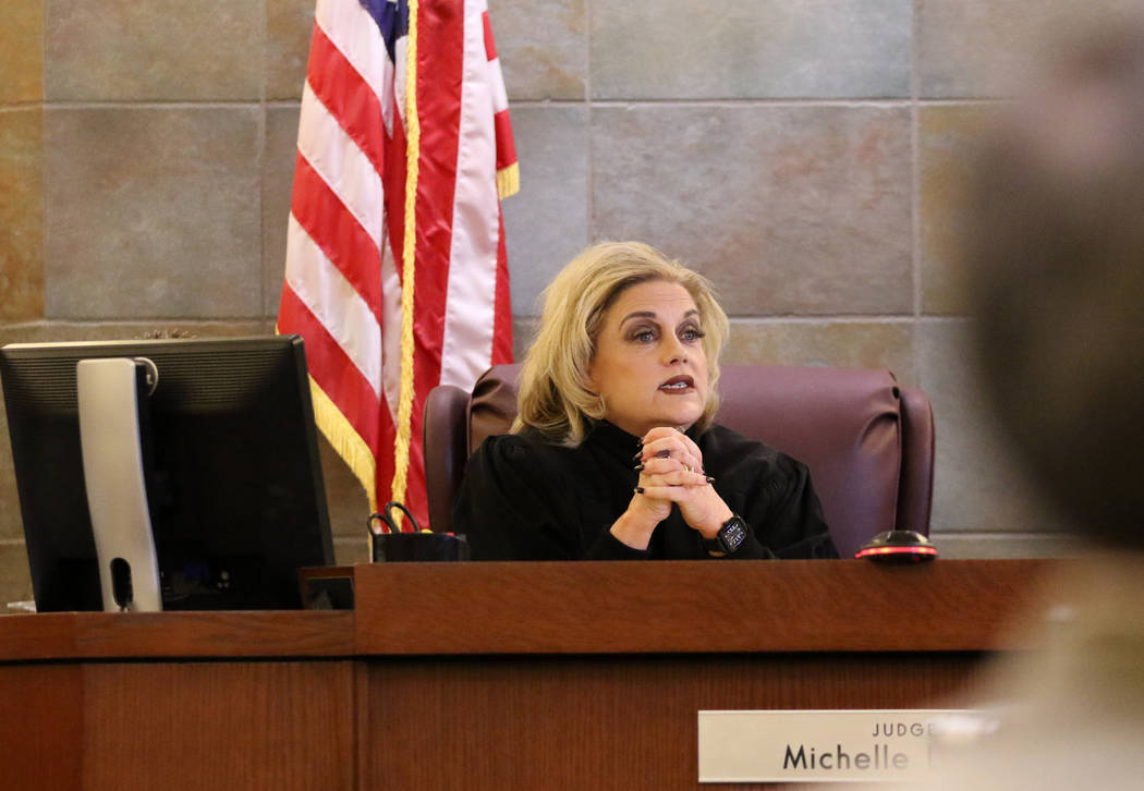 Judge Michelle Leavitt addresses the jury after the verdict for Emilio Arenas was delivered at the Regional Justice Center in Las Vegas, Friday, Feb. 1, 2019. Arenas received life in prison withou ...