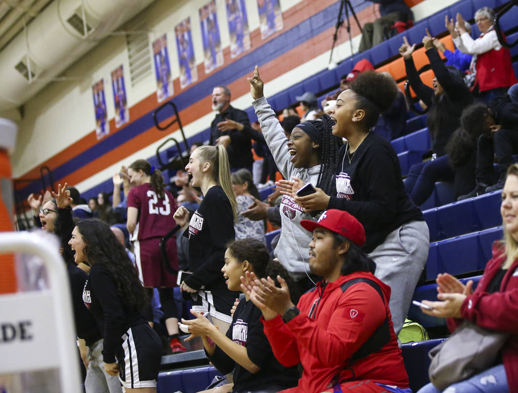 Desert Oasis fans cheer during the second half of a basketball game at Bishop Gorman High School in Las Vegas on Friday, Feb. 1, 2019. (Chase Stevens/Las Vegas Review-Journal) @csstevensphoto