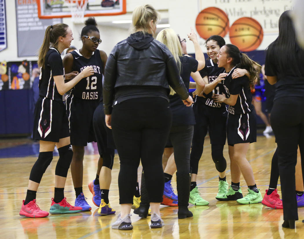 Desert Oasis players celebrate their win at Bishop Gorman High School in Las Vegas on Friday, Feb. 1, 2019. (Chase Stevens/Las Vegas Review-Journal) @csstevensphoto