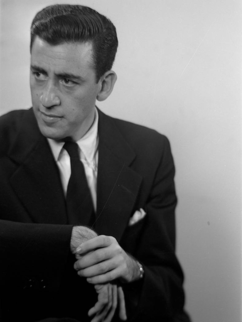 """This photo of author J.D. Salinger was taken by Lotte Jacobi for the book jacket of his 1951 novel """"Catcher in the Rye."""" (Lotte Jacobi/Courtesy of University of New Hampshire via AP)"""