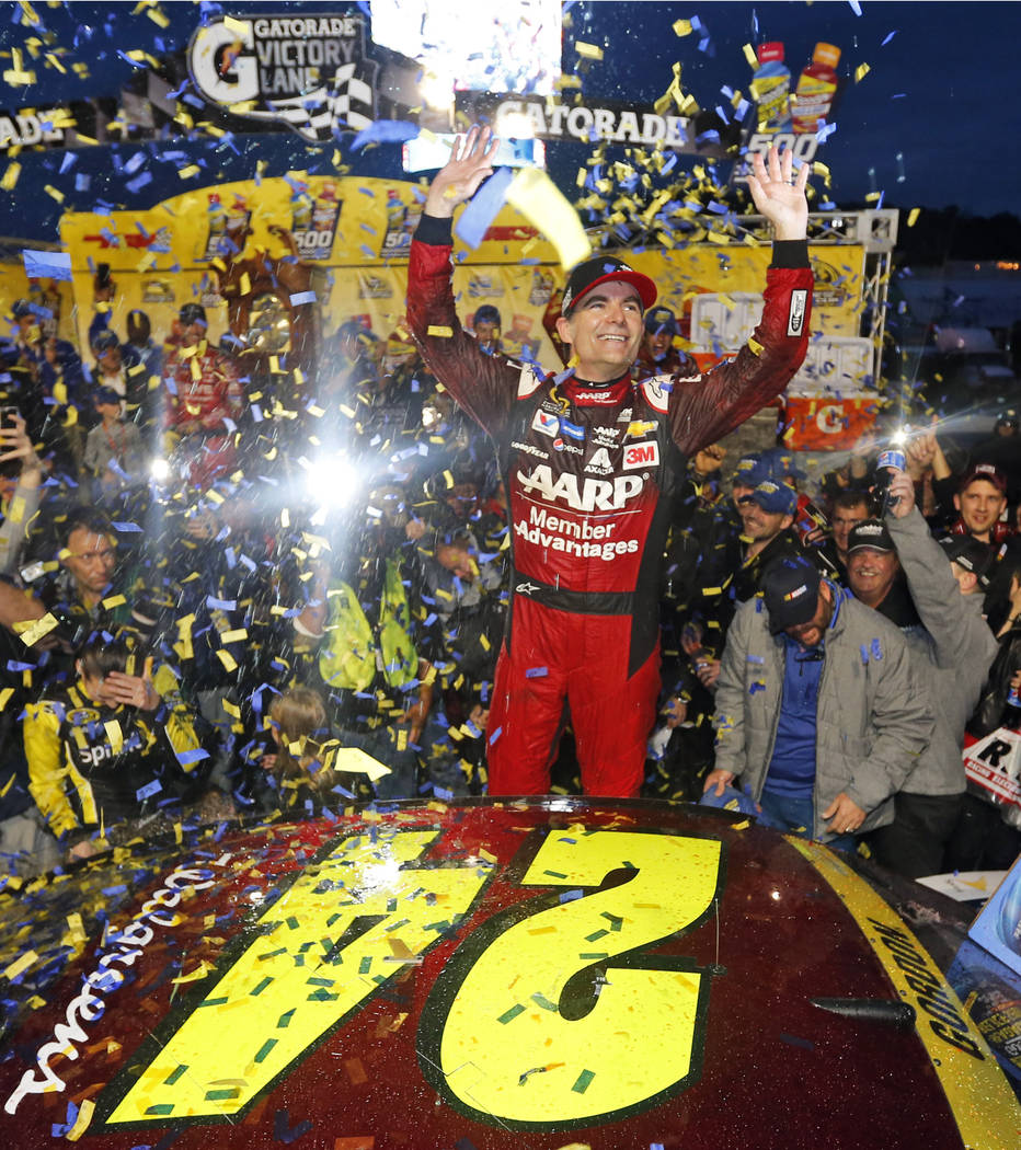 Jeff Gordon celebrates in Victory Lane after winning the NASCAR Sprint Cup Series auto race at Martinsville Speedway in Martinsville, Va. on Nov. 1, 2015. Gordon headlines the 10th class of the NA ...