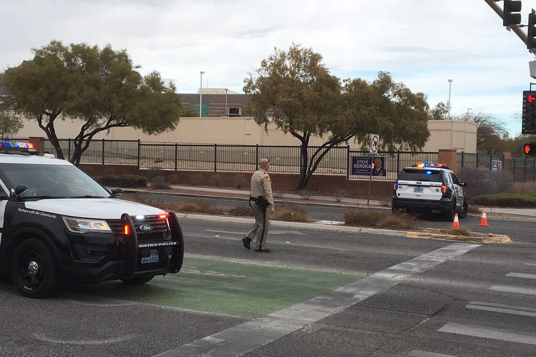 Two Clark County schools in the west valley were locked down for about an hour Thursday morning because of a Las Vegas police shooting in the area. (Michael Quine/Las Vegas Review-Journal)