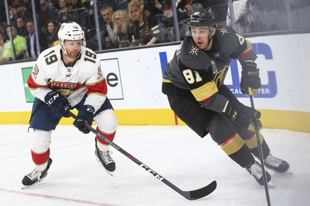 Golden Knights' center Jonathan Marchessault (81) moves the puck against Florida Panthers' Mike Matheson (19) during an NHL hockey game at T-Mobile Arena in Las Vegas on Sunday, Dec. 17, 2017. Cha ...