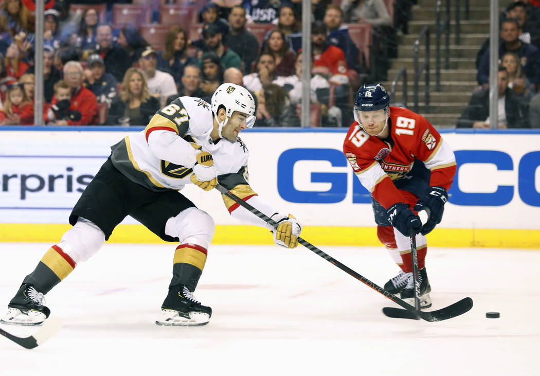 Vegas Golden Knights left wing Max Pacioretty (67) shoots and scores against Florida Panthers defenseman Mike Matheson (19) during the first period of an NHL hockey game, Saturday, Feb. 2, 2019, i ...