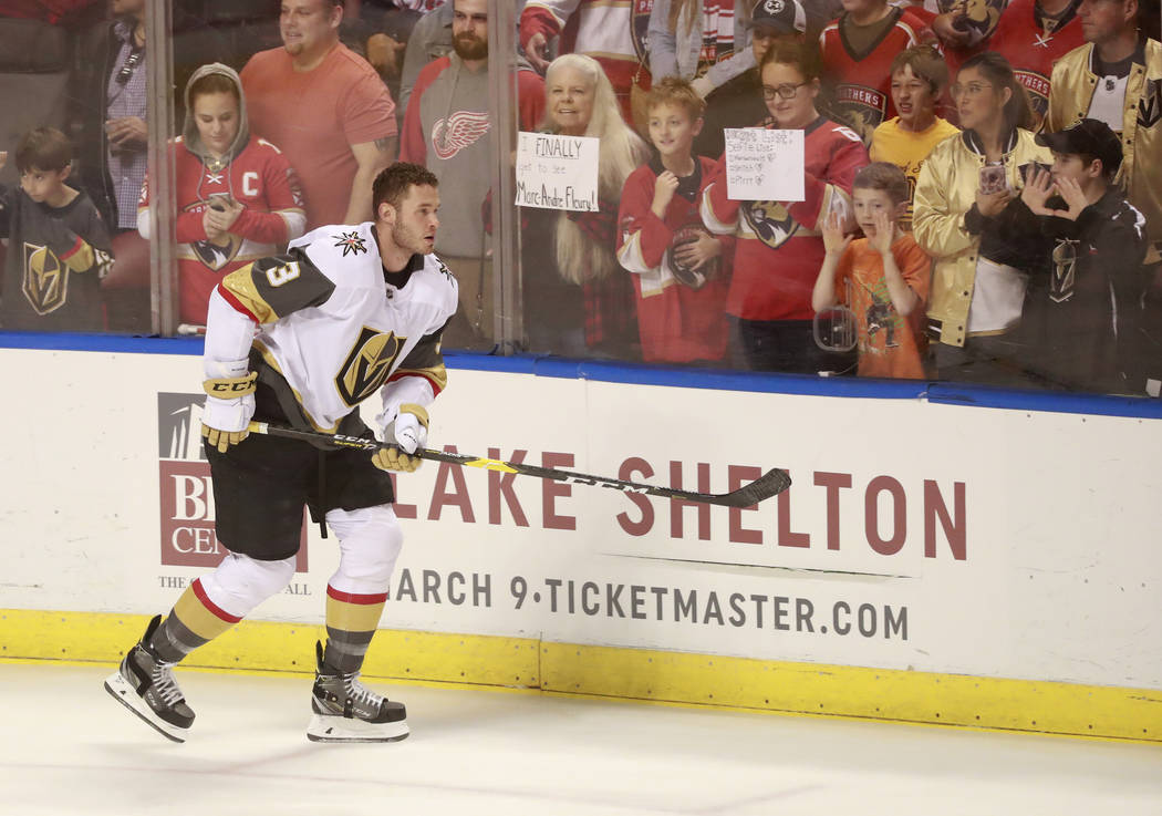 Vegas Golden Knights defenseman Brayden McNabb warms up before the start of an NHL hockey game against the Florida Panthers, Saturday, Feb. 2, 2019 in Sunrise, Fla. (AP Photo/Wilfredo Lee)