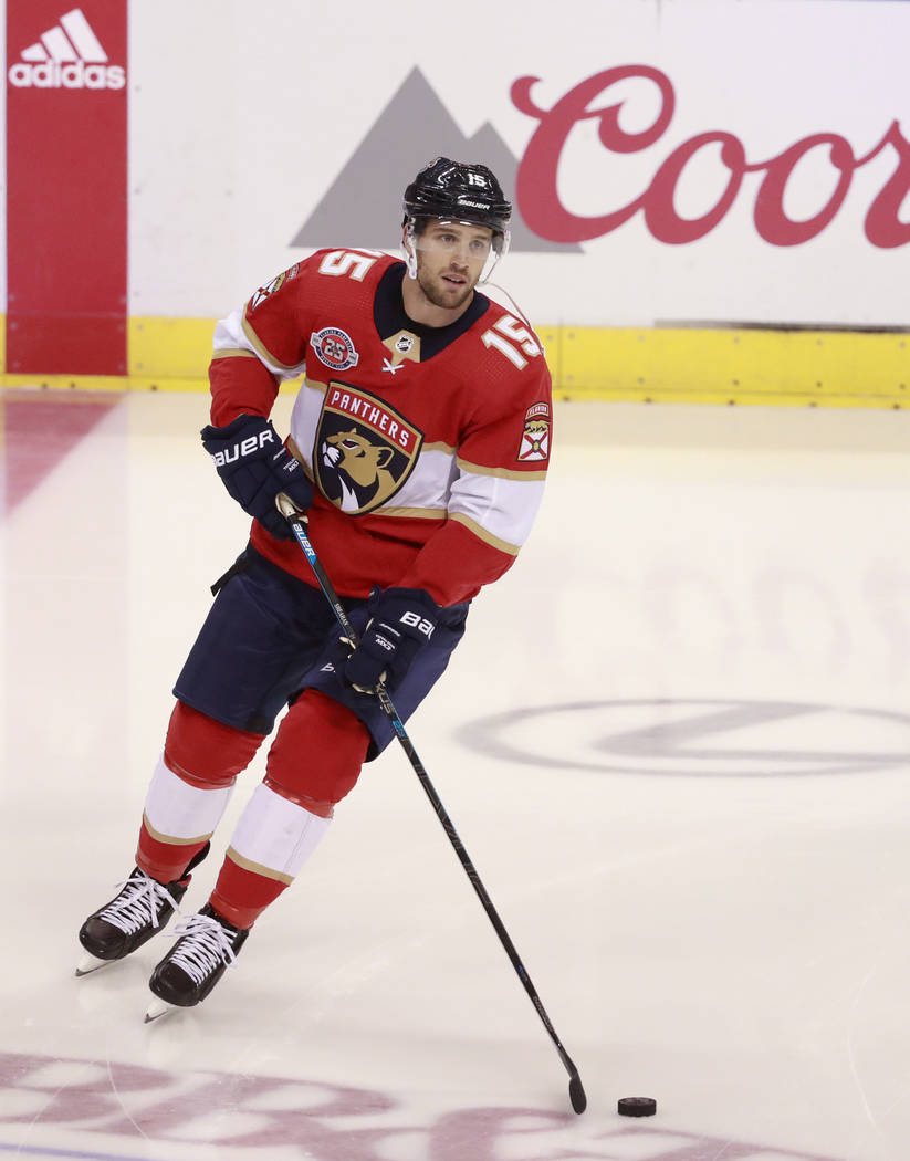 Florida Panthers center Riley Sheahan warms up before the start of an NHL hockey game against the Vegas Golden Knights, Saturday, Feb. 2, 2019 in Sunrise, Fla. (AP Photo/Wilfredo Lee)