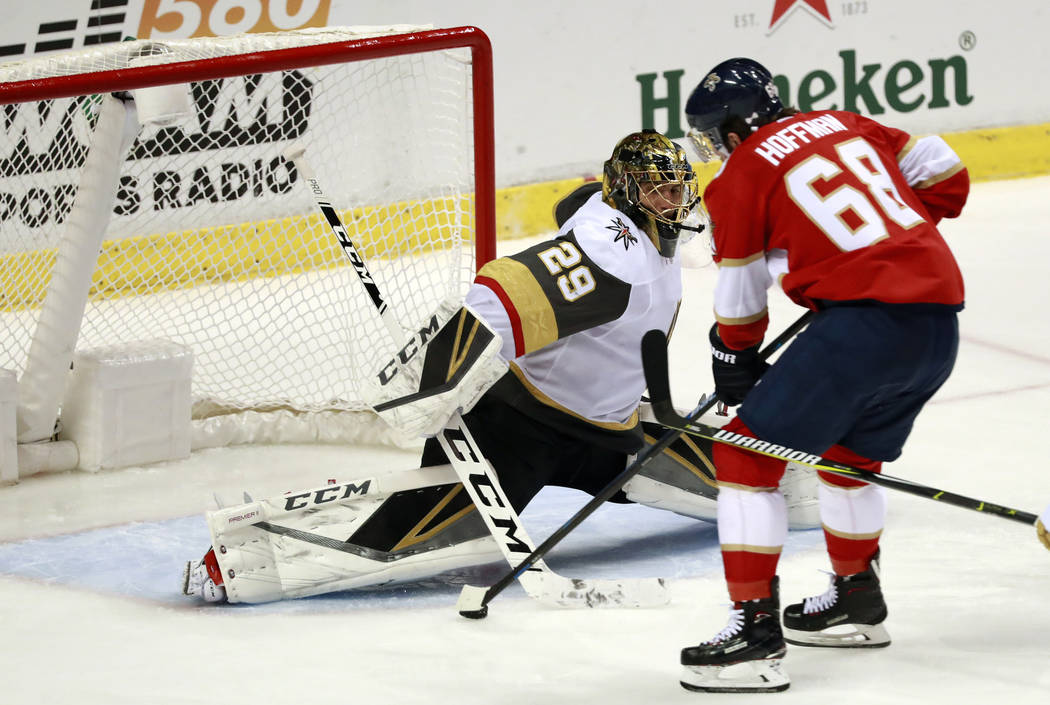 Florida Panthers left wing Mike Hoffman (68) scores against Vegas Golden Knights goaltender Marc-Andre Fleury (29) during the third period of an NHL hockey game, Saturday, Feb. 2, 2019, in Sunrise ...