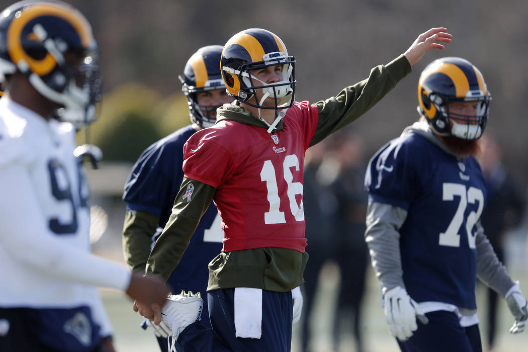 Los Angeles Rams quarterback Jared Goff (16) stretches during practice for the NFL Super Bowl 53 football game against the New England Patriots, Friday, Feb. 1, 2019, in Flowery Branch, Ga. (AP Ph ...