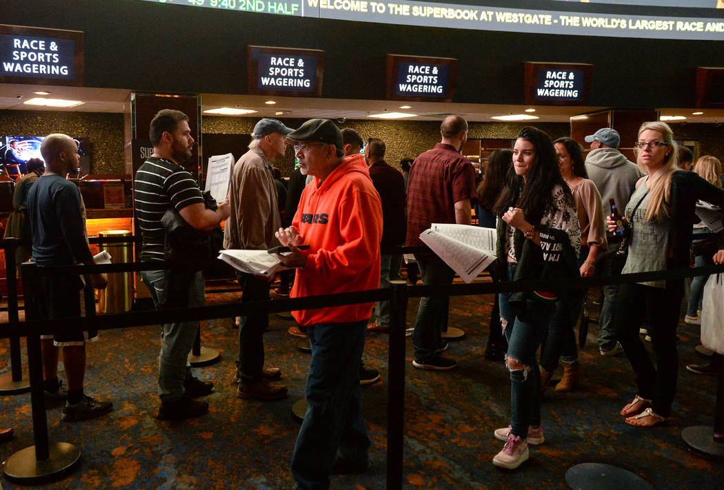 Bettors line up to place prop bets for the Super Bowl at the Westgate Superbook in Las Vegas in Las Vegas, Sunday, Feb. 3, 2019. Caroline Brehman/Las Vegas Review-Journal