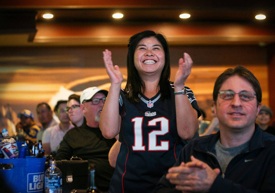 People react as they watch Super Bowl LIII at the Westgate Superbook in Las Vegas in Las Vegas, Sunday, Feb. 3, 2019. Caroline Brehman/Las Vegas Review-Journal
