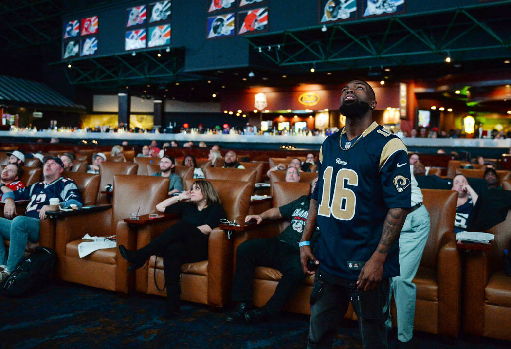 People watch Super Bowl LIII at the Westgate Superbook in Las Vegas in Las Vegas, Sunday, Feb. 3, 2019. Caroline Brehman/Las Vegas Review-Journal