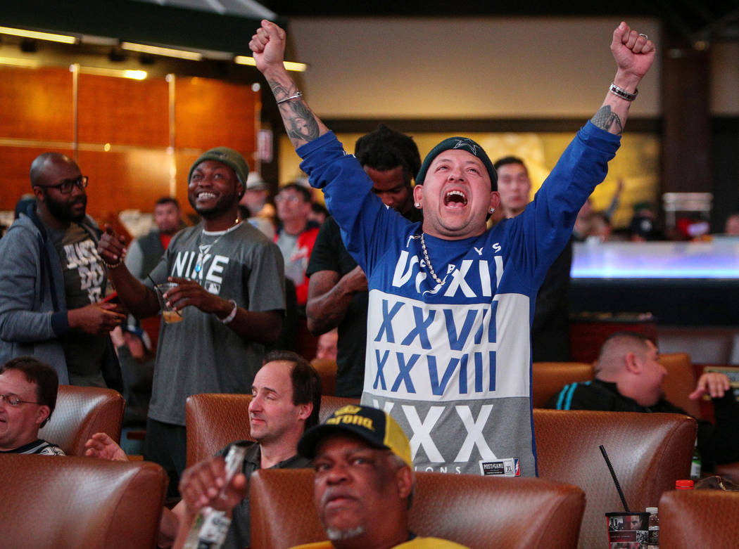 Alex Reyes, a New England Patriots fan, reacts as he watches Super Bowl LIII at the Westgate Superbook in Las Vegas in Las Vegas, Sunday, Feb. 3, 2019. Caroline Brehman/Las Vegas Review-Journal