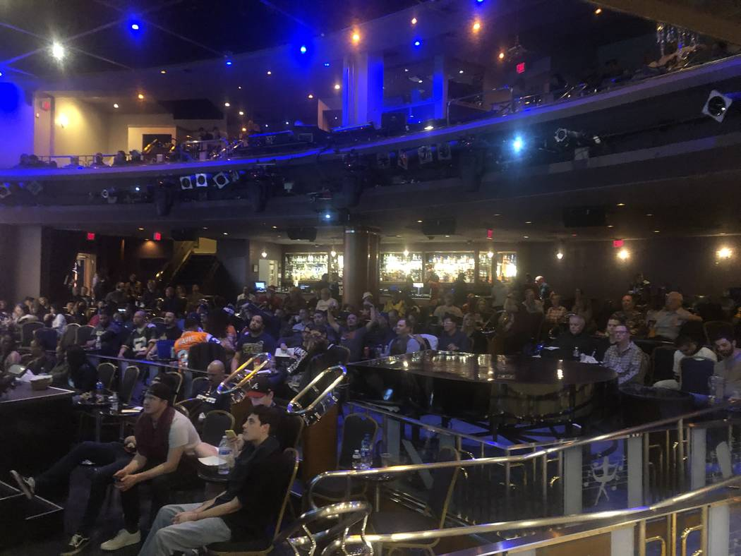 The Westgate Cabaret Super Bowl LII watch party is shown at Westgate Las Vegas on Sunday, Feb. 3, 2019. John Katsilometes/Las Vegas Review-Journal @JohnnyKats