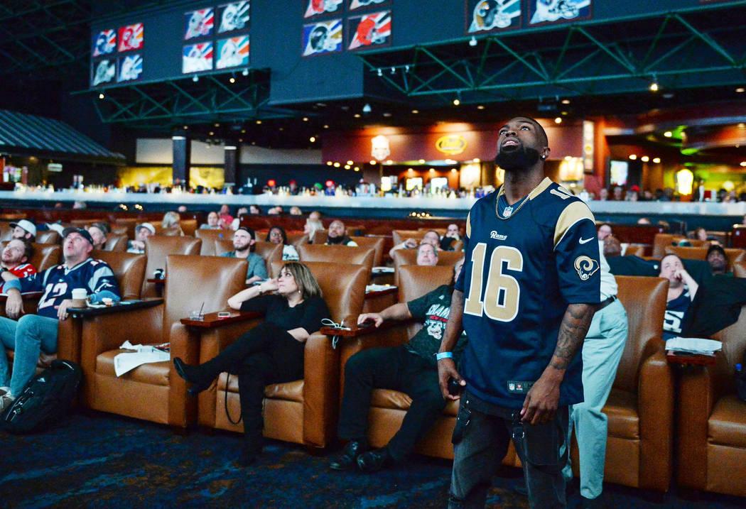 People watch Super Bowl LIII at the Westgate Superbook in Las Vegas in Las Vegas, Sunday, Feb. 3, 2019. Caroline Brehman/Las Vegas Review-Journal