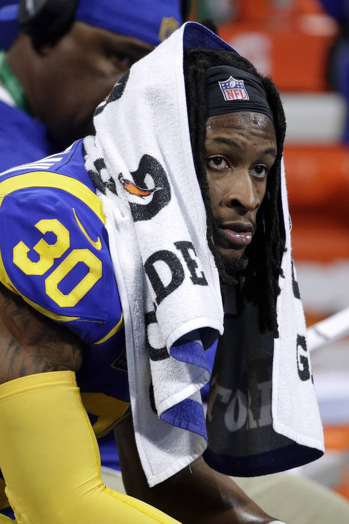 Los Angeles Rams' Todd Gurley II watches from the bench during the first half of the NFL Super Bowl 53 football game against the New England Patriots, Sunday, Feb. 3, 2019, in Atlanta. (AP Photo/P ...