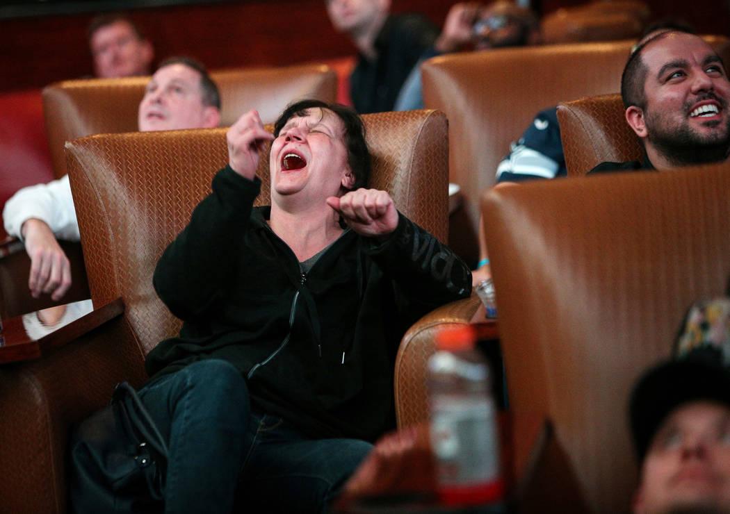 People react as they watch Super Bowl LIII at the Westgate Superbook in Las Vegas in Las Vegas, Sunday, Feb. 3, 2019. Caroline Brehman/Las Vegas Review-Journal