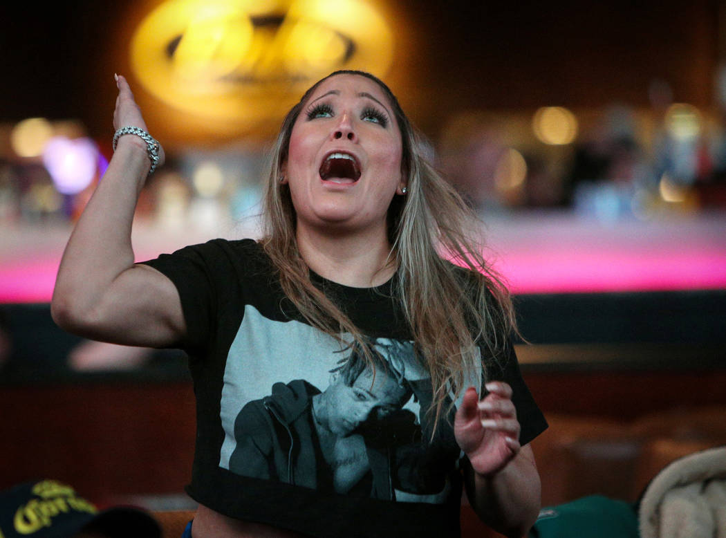 Jessica Reyes, a New England Patriots fan, reacts as she watches Super Bowl LIII at the Westgate Superbook in Las Vegas in Las Vegas, Sunday, Feb. 3, 2019. Caroline Brehman/Las Vegas Review-Journal