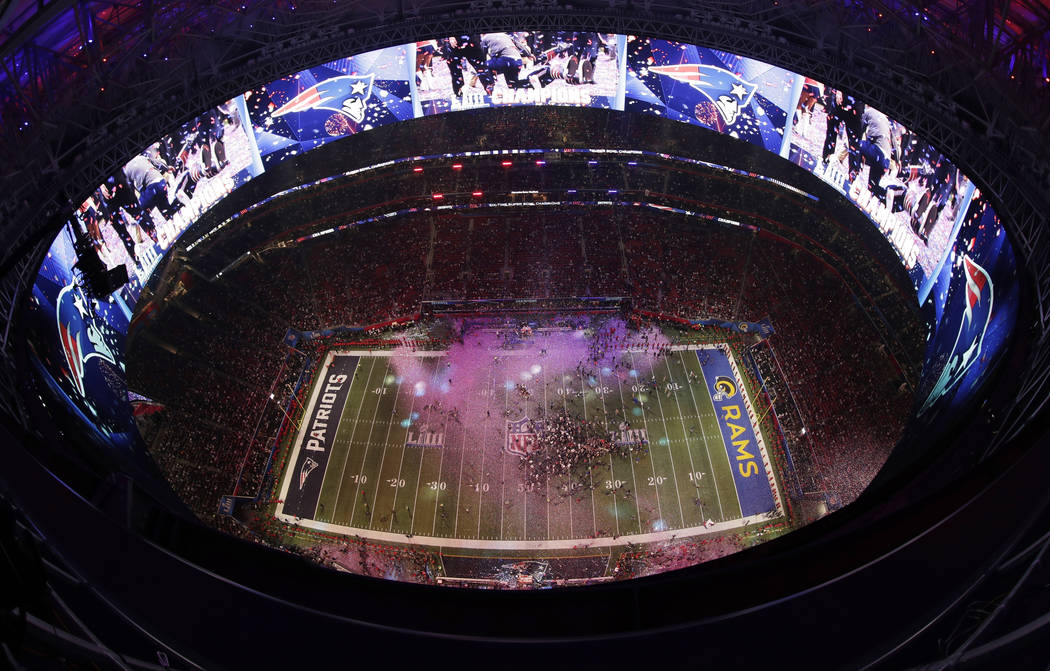 The New England Patriots celebrate after the NFL Super Bowl 53 football game against the Los Angeles Rams, Sunday, Feb. 3, 2019, in Atlanta. The Patriots won 13-3. (AP Photo/Morry Gash)