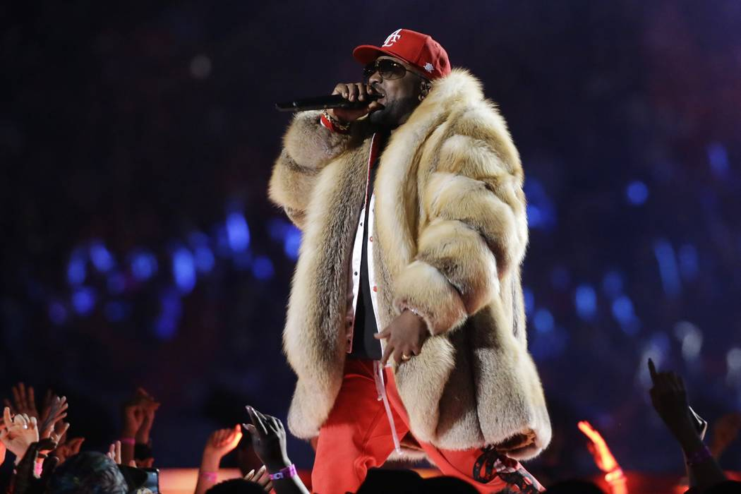 Big Boi performs during halftime of the NFL Super Bowl 53 football game between the Los Angeles Rams and the New England Patriots Sunday, Feb. 3, 2019, in Atlanta. (AP Photo/Mark Humphrey)