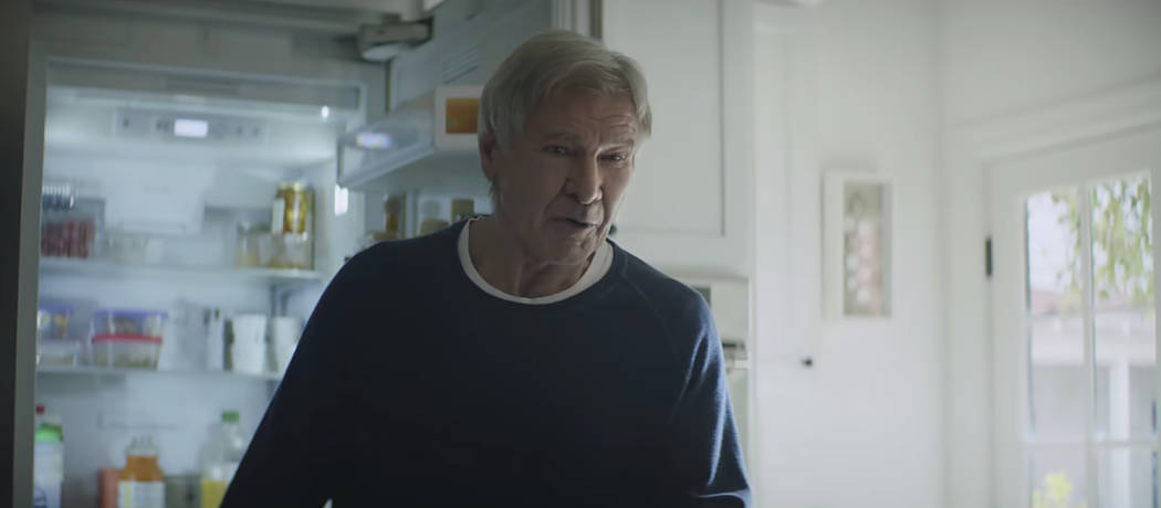 This undated image made from a video provided by Amazon shows a scene from the company's 2019 Super Bowl NFL football spot featuring Harrison Ford. Amazon pokes fun at itself as celebrities from H ...