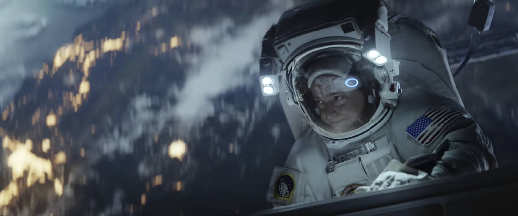 This undated image made from a video provided by Amazon shows a scene from the company's 2019 Super Bowl NFL football spot featuring Scott Kelly. Amazon pokes fun at itself as celebrities from Har ...