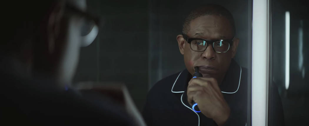 This undated image made from a video provided by Amazon shows a scene from the company's 2019 Super Bowl NFL football spot featuring Forest Whitaker. Amazon pokes fun at itself as celebrities from ...