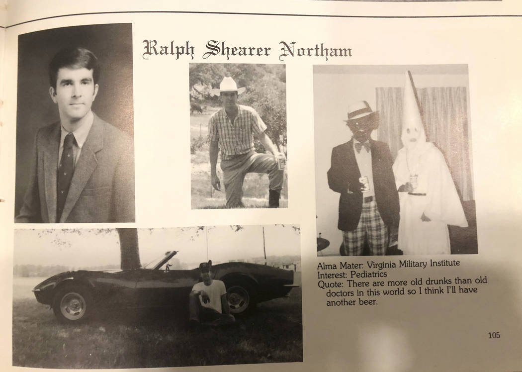 This image shows Virginia Gov. Ralph Northam's page in his 1984 Eastern Virginia Medical School yearbook. The page shows a picture, at right, of a person in blackface and another wearing a ...