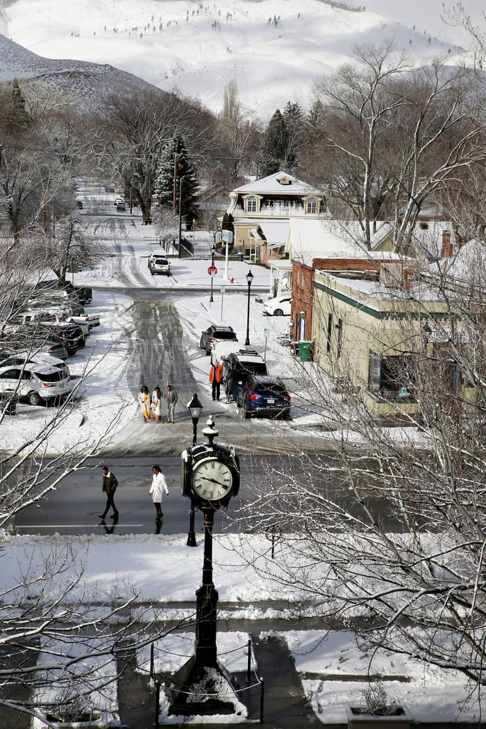 Lawmakers and guests make their way to the Legislative Building in Carson City on the first day of the 80th session of the Nevada Legislature Monday, Feb. 4, 2019. (K.M. Cannon/Las Vegas Review-Jo ...