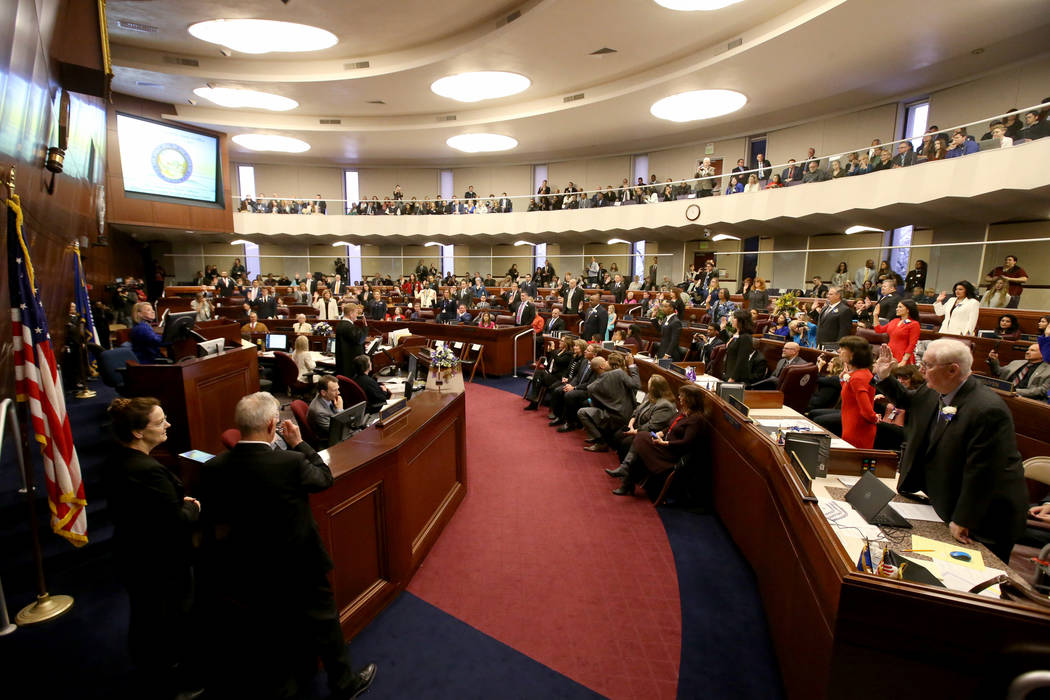 Assembly members take the oath of office in the Legislative Building in Carson City on the first day of the 80th session of the Nevada Legislature Monday, Feb. 4, 2019. (K.M. Cannon/Las Vegas Revi ...