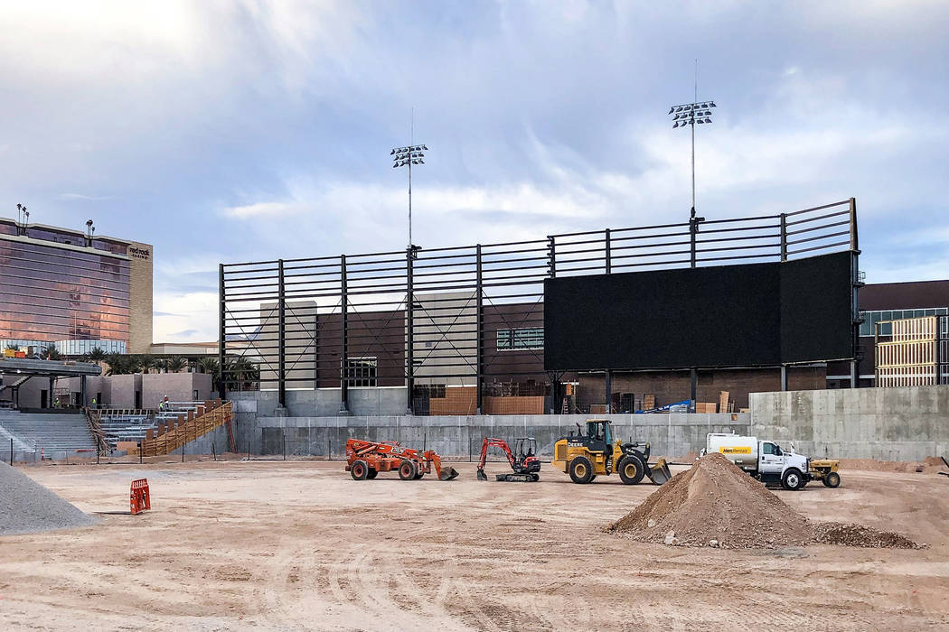In a recent photo, the frame for Las Vegas Ballpark's videoboard is being constructed. The display is scheduled to be the largest of its type in minor league baseball. Photo by Howard Hughes Cor ...